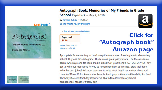 Autograph book childrens page button